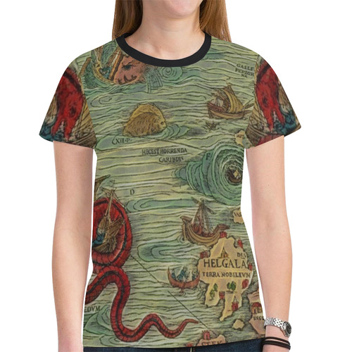 3721c2795 Historic Map from the World with Sea Monsters New All Over Print T-shirt  for Women (Model T45)   ID: D2147619