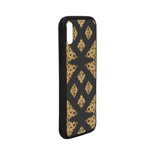 iPhone X Phone Case Rubber Black Diamond Leopard Pattern Rubber Case for iPhone X