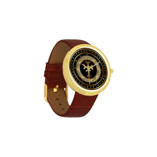 Armenian Cross Women's Golden Leather Strap Watch(Model 212)