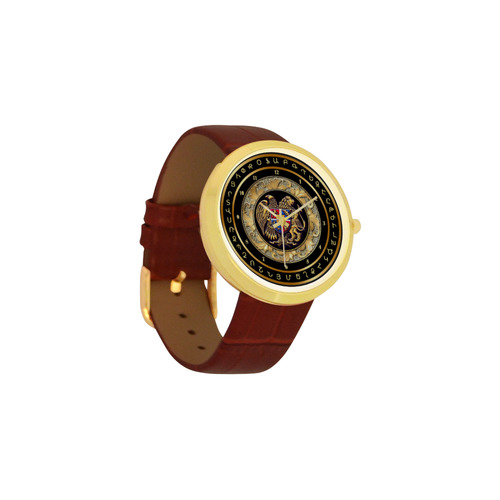 Coat of arms of Armenia Women's Golden Leather Strap Watch(Model 212)