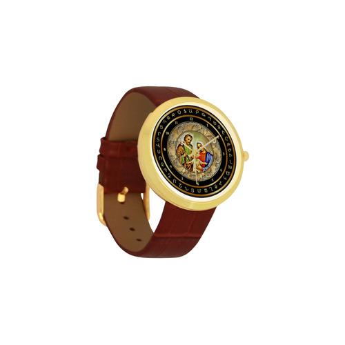 Christmas Women's Golden Leather Strap Watch(Model 212)