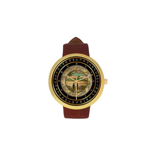 Children of Armenia Women's Golden Leather Strap Watch(Model 212)