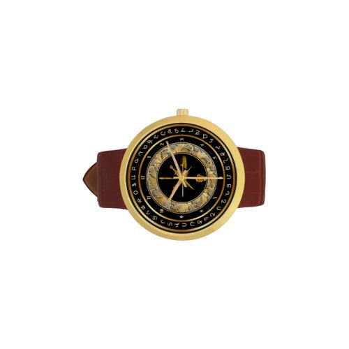 Armenian Zenatrosh Հ Յ Դ Women's Golden Leather Strap Watch(Model 212)