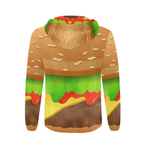 Close Encounters of the Cheeseburger All Over Print Full Zip Hoodie for Men/Large Size (Model H14)