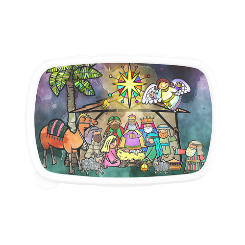 Watercolor Christmas Nativity Painting Children's Lunch Box