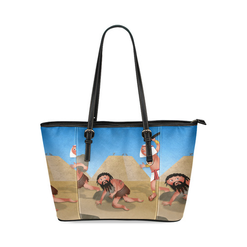 Jewish Slaves In Egypt Leather Tote Bag Small Model 1640 Id