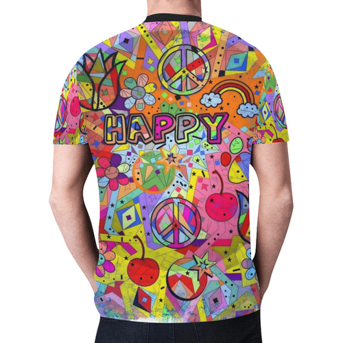 Happy Popart by Nico Bielow New All Over Print T-shirt for Men (Model T45)
