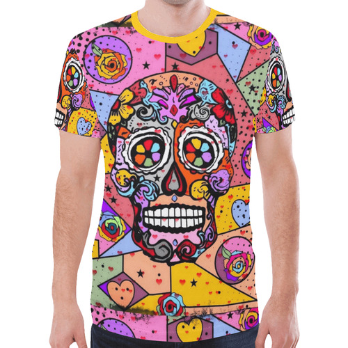 Skull Popart by Nico Bielow New All Over Print T-shirt for Men (Model T45)