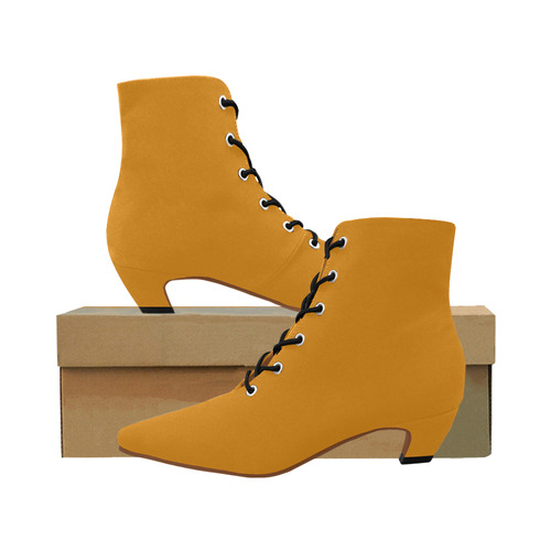 Spicey Mustard Women's Pointed Toe Low Heel Booties (Model 052)