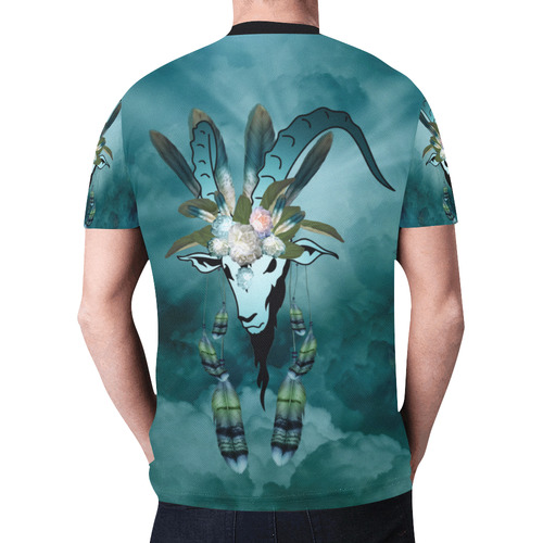The billy goat with feathers and flowers New All Over Print T-shirt for Men (Model T45)