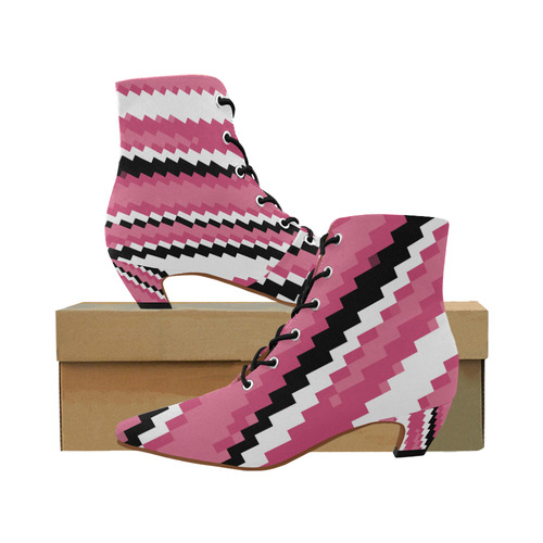f848cf79e6ba pink black and white pixel art Women s Pointed Toe Low Heel Booties (Model  052)