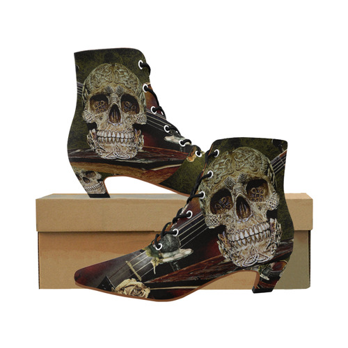 aec33537d3e2 Funny Skull and Book Women s Pointed Toe Low Heel Booties (Model 052 ...