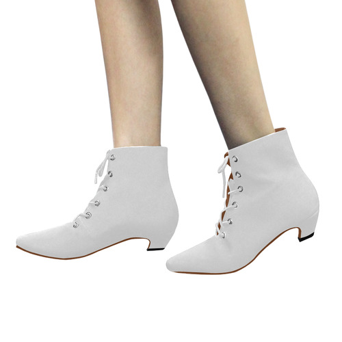 Ethereal Easter Lily White Solid Color Women's Pointed Toe Low Heel Booties (Model 052)