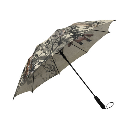 Funny, happy giraffe Semi-Automatic Foldable Umbrella (Model U05)