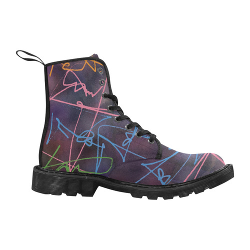 WATERCOLOR CAMOU SIGN FANTASY Martin Boots for Women (Black) (Model 1203H)