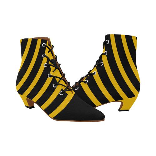 Modern Black Background Arch Stripes Cut Women's Pointed Toe Low Heel Booties (Model 052)