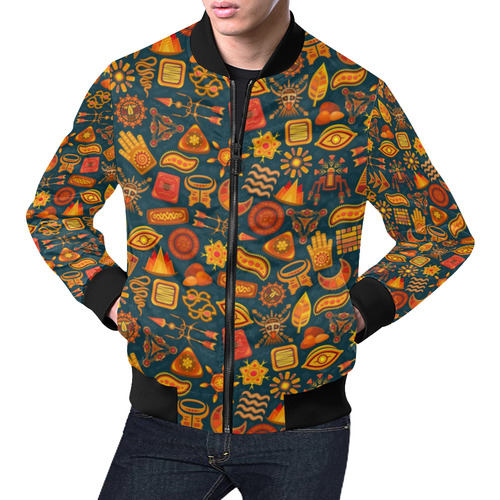 Ethno Pattern Green Orange 2 All Over Print Bomber Jacket for Men (Model H19)