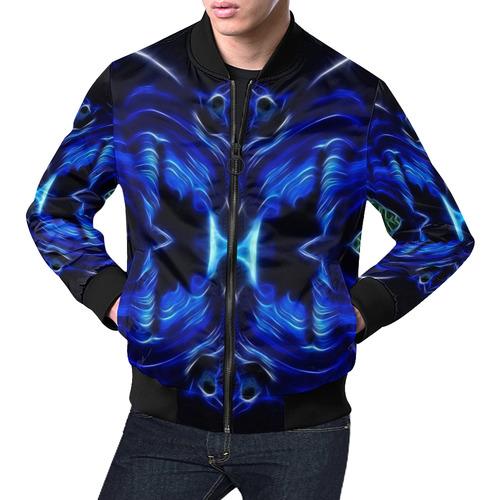 Darkblue-lightblue Lines in move All Over Print Bomber Jacket for Men (Model H19)