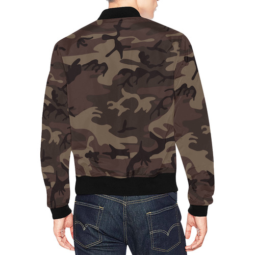 Camo Red Brown All Over Print Bomber Jacket for Men (Model H19)