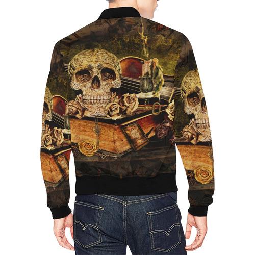 Steampunk Alchemist Mage Roses Celtic Skull All Over Print Bomber Jacket for Men (Model H19)
