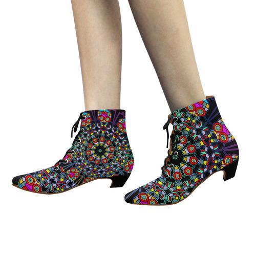 CRAZY HAPPY FREAK Mandala multicolored Women's Pointed Toe Low Heel Booties (Model 052)