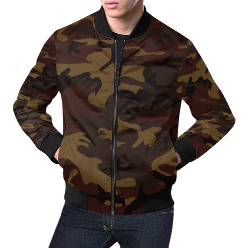 Camo Dark Brown All Over Print Bomber Jacket for Men (Model H19)