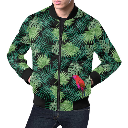 Parrot And Leaves All Over Print Bomber Jacket for Men (Model H19)
