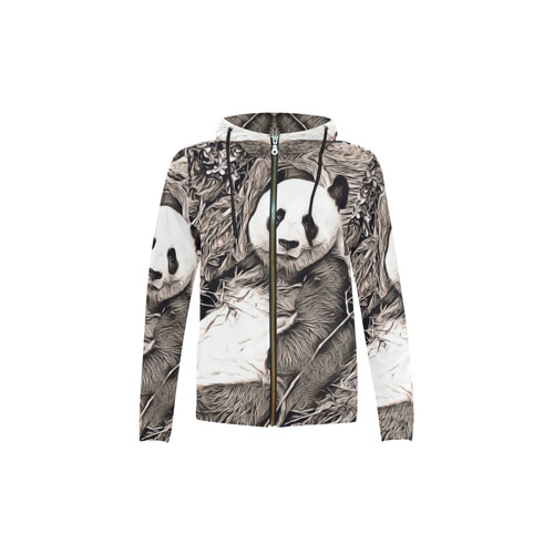 Rustic Style - Panda by JamColors All Over Print Full Zip Hoodie for Kid (Model H14)