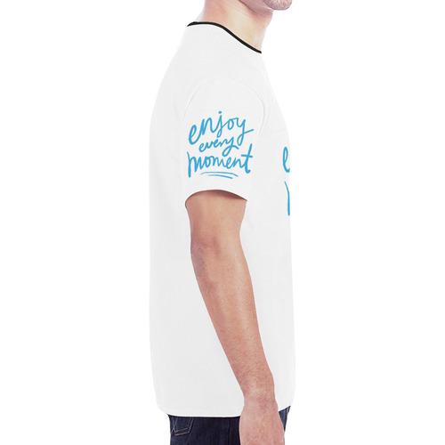 Mens T-shirt White Enjoy Every Moment New All Over Print T-shirt for Men (Model T45)