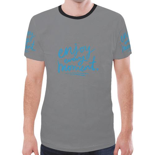 Mens T-shirt Gray Enjoy Every Moment New All Over Print T-shirt for Men (Model T45)