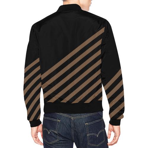 Modern Black Background Diagonal Stripes Cut All Over Print Bomber Jacket for Men (Model H19)