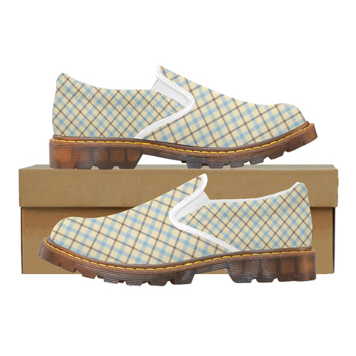 Plaid 2 tartan in cream, brown and baby blue Martin Men's Slip-On Loafer (Model 12031)