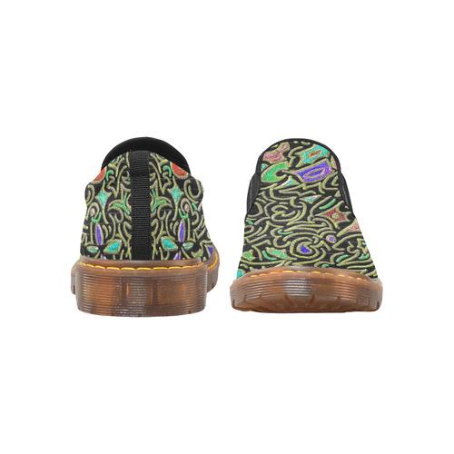 swirl retro abstract Martin Men's Slip-On Loafer (Model 12031)