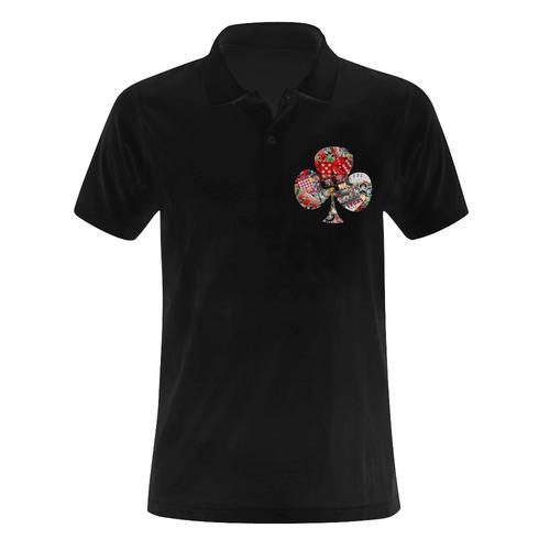 Club Playing Card Shape - Las Vegas Icons Men's Polo Shirt (Model T24)