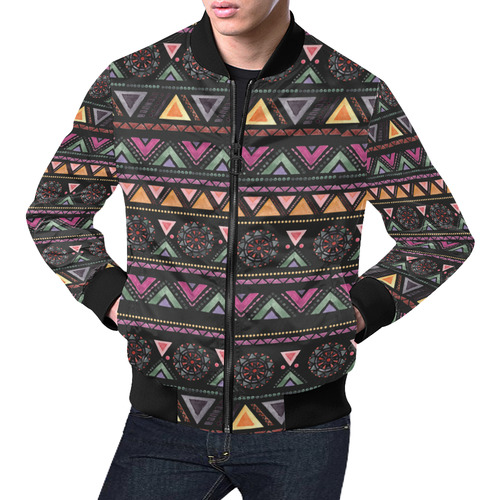 Native American Ornaments Watercolor Pattern All Over Print Bomber Jacket for Men (Model H19)