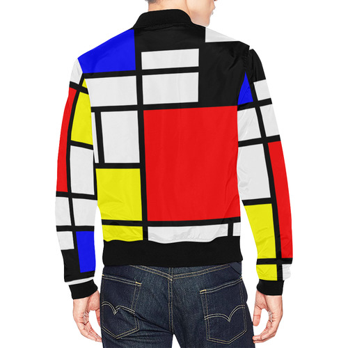 Mosaic DE STIJL Style black yellow red blue All Over Print Bomber Jacket for Men (Model H19)