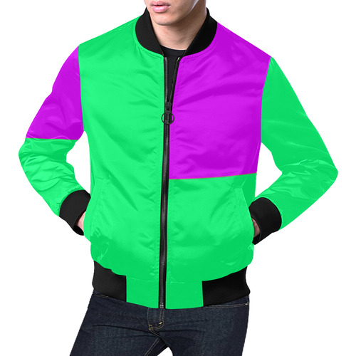 Green and Pink Standout All Over Print Bomber Jacket for Men (Model H19)