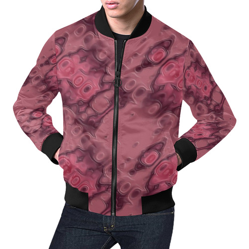 Puce Textured Leather All Over Print Bomber Jacket for Men (Model H19)