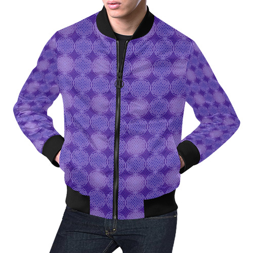 FLOWER OF LIFE stamp pattern purple violet All Over Print Bomber Jacket for Men (Model H19)