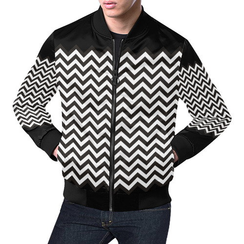 HIPSTER zigzag chevron pattern black & white All Over Print Bomber Jacket for Men (Model H19)