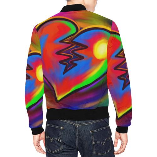 Broken Heart Vibrant Love Painting All Over Print Bomber Jacket for Men (Model H19)