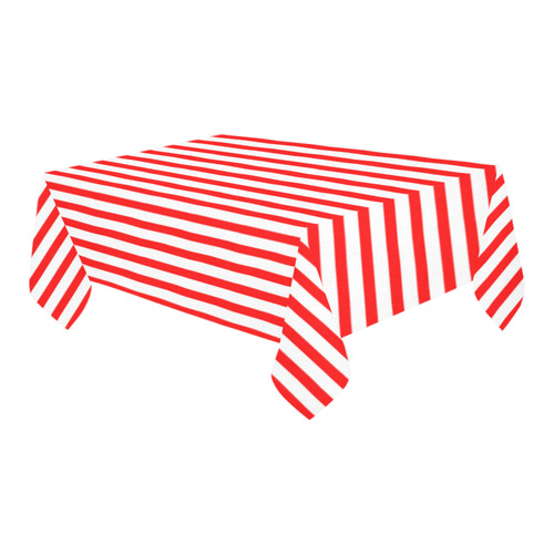 "Horizontal Red Candy Stripes Cotton Linen Tablecloth 60"" x 90"""