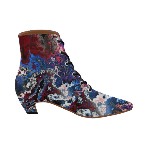 awesome fractal 28 Women's Pointed Toe Low Heel Booties (Model 052)