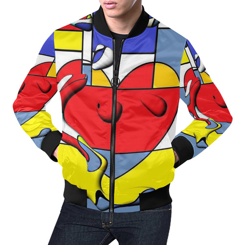 Herz Popart by Nico Bielow All Over Print Bomber Jacket for Men (Model H19)