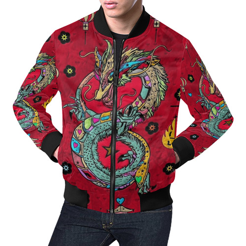 Dragon Popart by Nico Bielow All Over Print Bomber Jacket for Men (Model H19)