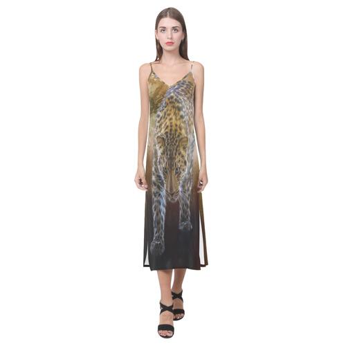 A fantastic painted russian amur leopard V-Neck Open Fork Long Dress(Model D18)