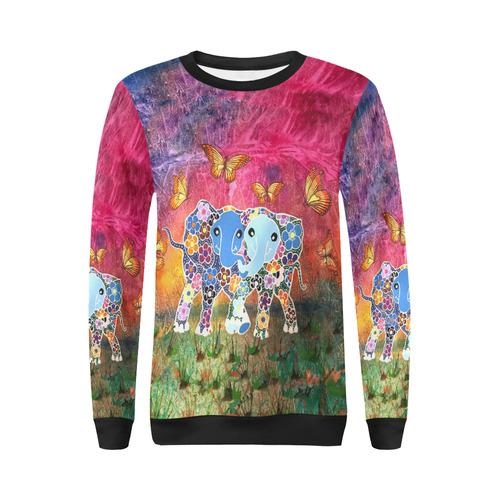a7cae0f3c7c510 Dancing Elephants Women s Sweatshirt All Over Print Crewneck Sweatshirt for  Women (Model H18)
