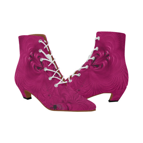 FRACTAL: Fuchsia Swirls Abstract Women's Pointed Toe Low Heel Booties (Model 052)
