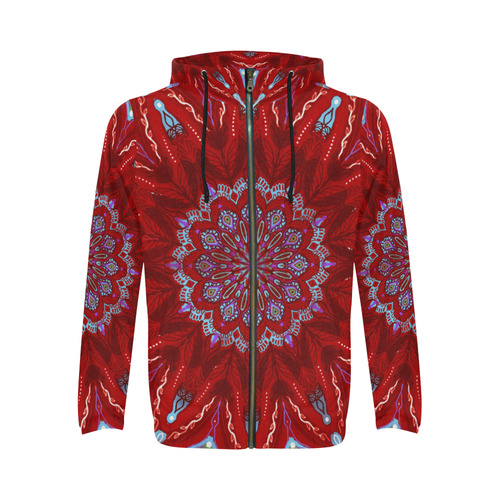 mandala beach 3 All Over Print Full Zip Hoodie for Men/Large Size (Model H14)