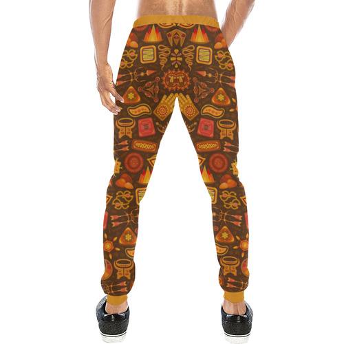 Ethno Pattern Orange 2 Men's All Over Print Sweatpants (Model L11)